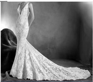Gali Karten Sexy Mermaid Wedding Dresses Backless Spaghetti Neck White Lace Appliqued Custom Made Vintage Bridal Wedding Gowns DH163