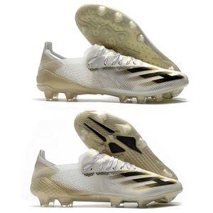 Hommes Chaussures de football ADS X Ghosted + FG AG Inflight Chaussures Blanc Or métallique de base Noir PRE COMMANDE X GHOSTED.1 FG FTWWHT Crampons