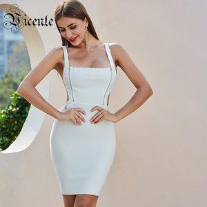 VC todo el envío gratis 2020 Nueva moda blanca mini vestido atractivo del diseño de la cremallera sin respaldo Celebrtiy club del partido del vendaje vestido de deslizamiento