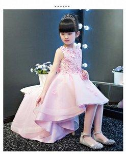 KICCOLY Элегантный Продольный девушки розовый кружевном платье Аппликации Первое причастие платье Baby Girl Формальные Свадебные платья цветка платье D8LK #