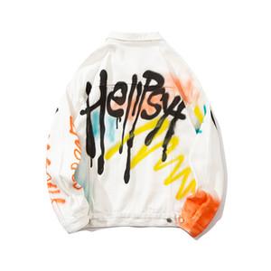 Bianco Graffiti stampato Uomo Denim Giacche Turn-down Collar Jean Giubbotti Streetwear Abbigliamento Uomo