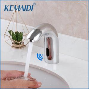 Mezclador de agua KEMAIDI grifo automático del sensor de baño del grifo del lavabo de latón macizo caliente fría al tacto libre de infrarrojos Cuenca del grifo