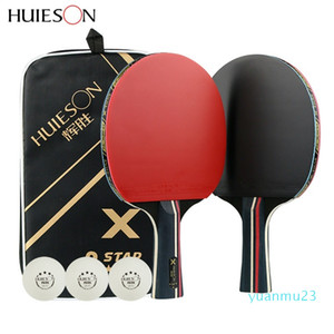 Wholesale-Huieson 2Pcs Upgraded 5 Star Carbon Table Tennis Racket Set Lightweight Powerful Ping Pong Paddle Bat with Good Control T200410