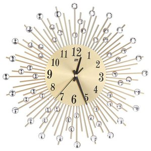 Practical Wall Clock Diamonds Decorative Round Clock Metal Living Room Decor Quiet Quartz Clocks Modern Minimalist Clocks(Gold)