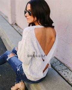L'autunno e l'inverno nuovo maglione pendolare senza schienale Cross Fork maglione abbigliamento femminile forcella OL 5GcMP delle donne