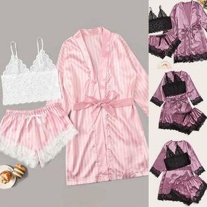 Sexy scollo a V pigiami di seta per le donne floreale raso Pajama Set Estate 2020 Pigiama Donne Satin Sleepwear Abbigliamento intimo Pijama Mujer