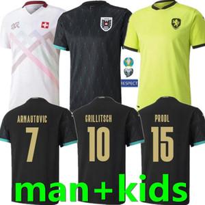 20 21 Austria Checo Suiza Soccer Jersey Alaba Arnautovic Sabitzer Grillsch Camisetas National Team Man Man Kids Black Football Shirts