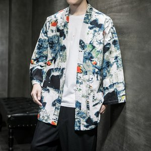 HCvxP 2020 ethnic style coat top nationality Coat nationality cropped sleeve Hanfu top men's summer new Chinese style fairy cardigan antique