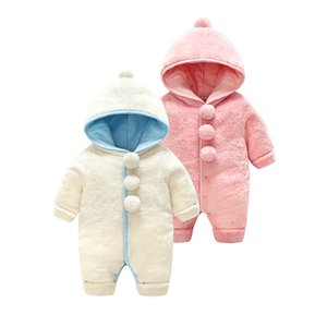 Baby Winter Clothes For Newborn Overalls Velvet Thick Cotton Warm Pom Pom Hooded Rompers Long Sleeve Infant Boy Girl Jumpsuit
