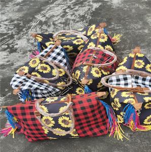 Femmes Tournesol Sacs à main Grand fourre-tout Patchwork Checkered Sac à main poignée Vintage Sac à bandoulière Voyage Duffle Bag Weekender Hot D81904