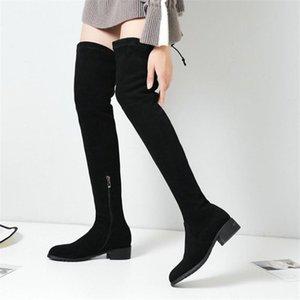NAYIDUYUN botas altas da coxa Mulheres de couro de vaca sobre o joelho alta equitação Sapatinho Low Heel altos Shoes Shaft Punk Oxfords Inverno