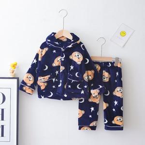 LZH 2020 Herbst-Winter der neuen Kinder-Bekleidung Baby-gestreifter Klage Mädchen Velvet Stoff Langarm-Pyjamas Zweiteilige 1-4 Jahre