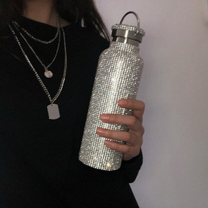Moda 350 500 700ml inteligente canecas com strass Feito à Mão Diamante Intelligent Garrafa de água Sparkling temperatura da exposição Cups Mugs Luxo