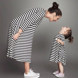 Daughter Black White Striped Dress Casual Family Clothes Girls Dress baby girl clothes sweet and elegant bebe dress July20