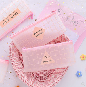 Cute Pink Transparent Grid Large Capacity Pencil Bag Pencil Pouch Pencilcase Pen Bag Stationery Storage Organizer Holder
