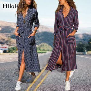 HiloRill New Striped Lady Shirt Dress Long Sleeve Turn Down Collar Casual Dresses Pockets Bandage Elegant Midi Dress Robe 200928