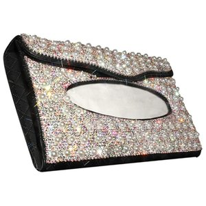 Car Sun Visor Tissue Holder, Leather Tissue Box for Ladies, Hanging Pearl Car Visor Box