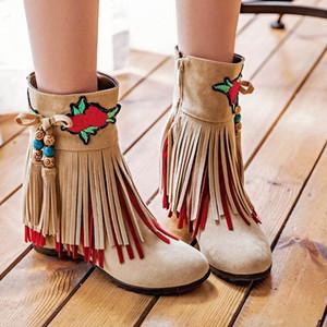 Püsküller Kadın Ayakkabı Elbise Patik Kış Boots Kadın Kış Boot Kadın Boots Bayanlar Kar Ayakkabı Isınma