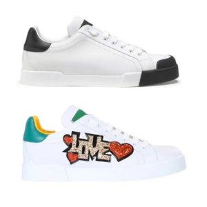 Hot Uomini Donne portofino scarpe da ginnastica amore pelle di vitello bianca Outdoor Scarpe PATCH graffiti delle donne di gomma calza i pattini della piattaforma casual 35-45