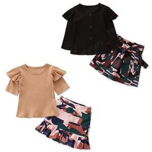 kids clothes girls outfits children Flying sleeve Tops+Camouflage skirts 2pcs sets Spring Autumn baby Clothing Sets