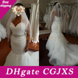 Country African Sweetheart Lace Wedding Dresses Vintage Crystal Beaded Sash Plus Size Court Train Mermaid Bridal Gowns With Free Veil