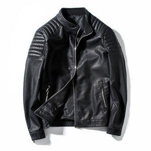 Весна осень байкер кожаная куртка мужчин меховой пальто мотоцикл PU повседневная стройная подходящая тушь мужская черная одежда плюс размер m-4xl, GA455