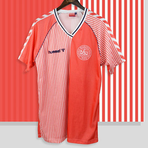 Retro Dinamarca 1986 camiseta de fútbol jerseys Larsen Olsen Laudrup Mølby Lerby Dinamarca Vintage Football Kit Classic