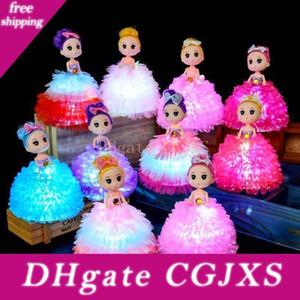 Creativo Kawaii lampeggiante bambole Confused 18cm di plastica colorati luminosi Luci bambola giocattolo Carino Gonna principessa Giocattoli L524
