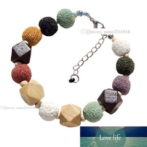Jewelry Designer pietra naturale colorata Vulcano borda il braccialetto di fascino per le donne Bracciali Pietra Lavica monili di legno Bracciale Perle