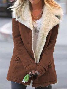 Coats Casual Quente Mulheres Winter Coats Fleece lapela Neck Mulheres manga comprida Casacos New Women Designer