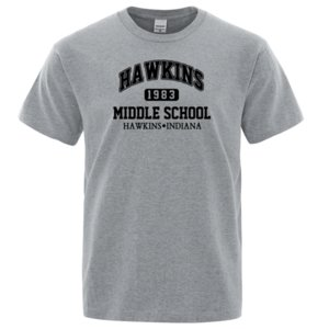 Странные вещи Hawkins High School Tshirt Мужчины Punk Rock Fitness Тенниски вскользь Tee Shirt Mens Лето Хлопок T-Shirt