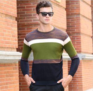 Mens Striped Patchwork O-Ansatz Pullover Herbst-Winter-Pullover dünner dünner Knits Mann Mode-Kontrast-Farben-Strickjacke