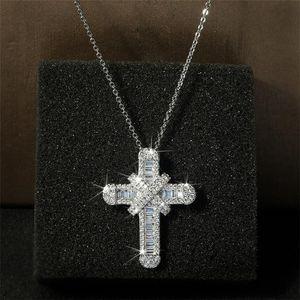 Hip Hop Винтаж Мода ювелирные изделия стерлингового серебра 925 Крест Подвеска Иисус Pave белый сапфир CZ Алмазный Женщины ключицы ожерелье с цепью