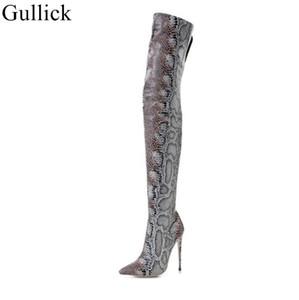 Snakeskin Stivali Donna Scarpe a punta Tacchi alti sopra il ginocchio Sexy Snake Boots Stampa scarpe di cuoio cerniera laterale lungo inverno