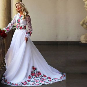 White Embroidery Applique A Line Muslim Evening Dresses Jewel Neck Long Sleeve Sweep Train Arabic Dubai Formal Evening Gowns