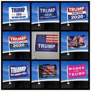 Fashion Trump Car Flag 45*30cm 2020 US Presidential Election Trump Flag Car Window Flag Including Flagpole DDA475