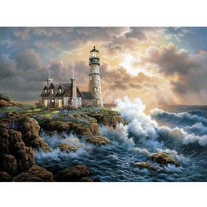 """5D DIY Elmas Çapraz Dikiş Tam Kare / Yuvarlak Matkap Elmas Nakış Mozaik Rhinestone Dekor Hediye """"Okyanus Lighthouse"""" Boyama"""