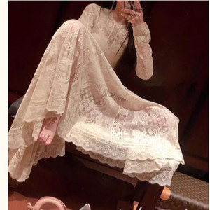 In Stock Ivory Long Sleeves Lace Dresses Ankle Length Engagement Gown With Silk Spaghetti Dress
