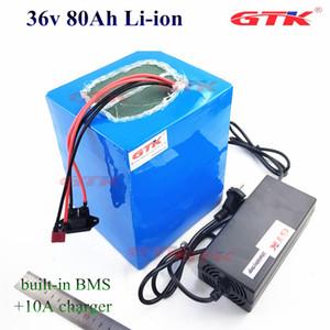 GTK 11.11 36v 80Ah Lithium-Ionen-Lithium-Akku 70Ah Bateria de litio für 2000W Elektroroller Fahrradlicht Solar + 10A Ladegerät