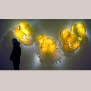 2020 New Popular Blown Glass Plate Modern Art Hanging Blown Glass Plate Bulk Decorative Yellow Wall Art