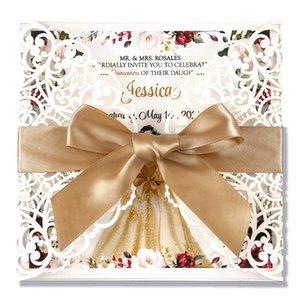 Piazza Inviti di nozze carte nuziale, Baby Shower Invita, compleanno, Quinceanera, con Bowknot dell'oro Hollow, 50pcs, W0004
