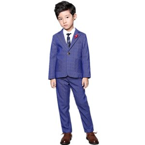 2020 New Boys Blazer Pants Suit Set 2pcs Kids Formal Plaid Wedding Suit Children England Style Birthday Performance Costume