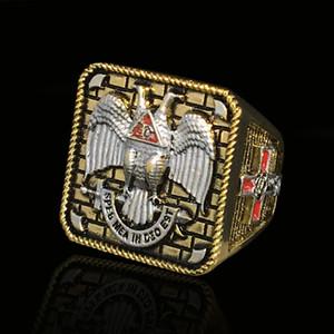 18 carati placcato oro muratore Scottish 32 anelli moda uomo antico campionato di dito anello dito gioielli dimensioni multiple
