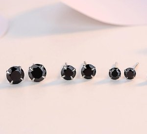 Simple Fashion Jewelry 925 Sterling Silver Black Sapphire CZ Diamond Gemstones Solitaire Women Wedding Party Men Stud Earring