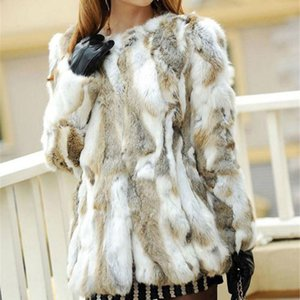 Ethel Anderson Real Rabbit Farm Escudo mujeres de la piel a rayas chaqueta de lujo Parkas boda T200831 68cm