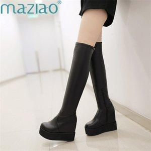 New Overknee-Stiefel Leder Höhe zunehmende Frauen Lange Boots-Plattform Winter Fashion Hoch MAZIAO