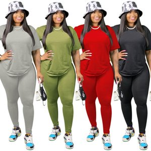 Plus Size Solid Women Tracksuits 2020 New Summer Autumn Short Sleeves T Shirt and Pants Sports Clubwear Two Pieces Set Real