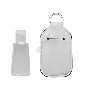 DIY Plain White 30ML Hand Sanitizer Bottle Titular em branco de sublimação Neoprene do anel chave frascos de perfume Casos Bag X-mas Chaveiros Presentes D92502
