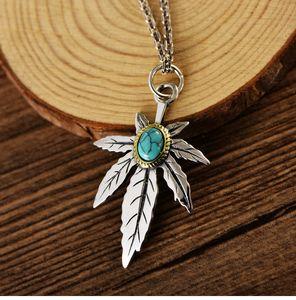 Gioielli ciondolo collana donne Aquila Maple leaf turchese cristallo naturale Uomini argento 925 Feather