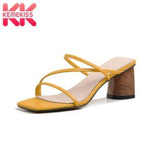 KemeKiss été femme Sandales style Thick Talons Chaussures Femmes solides Couleur Chaussons Chaussures Casual Taille 33-40